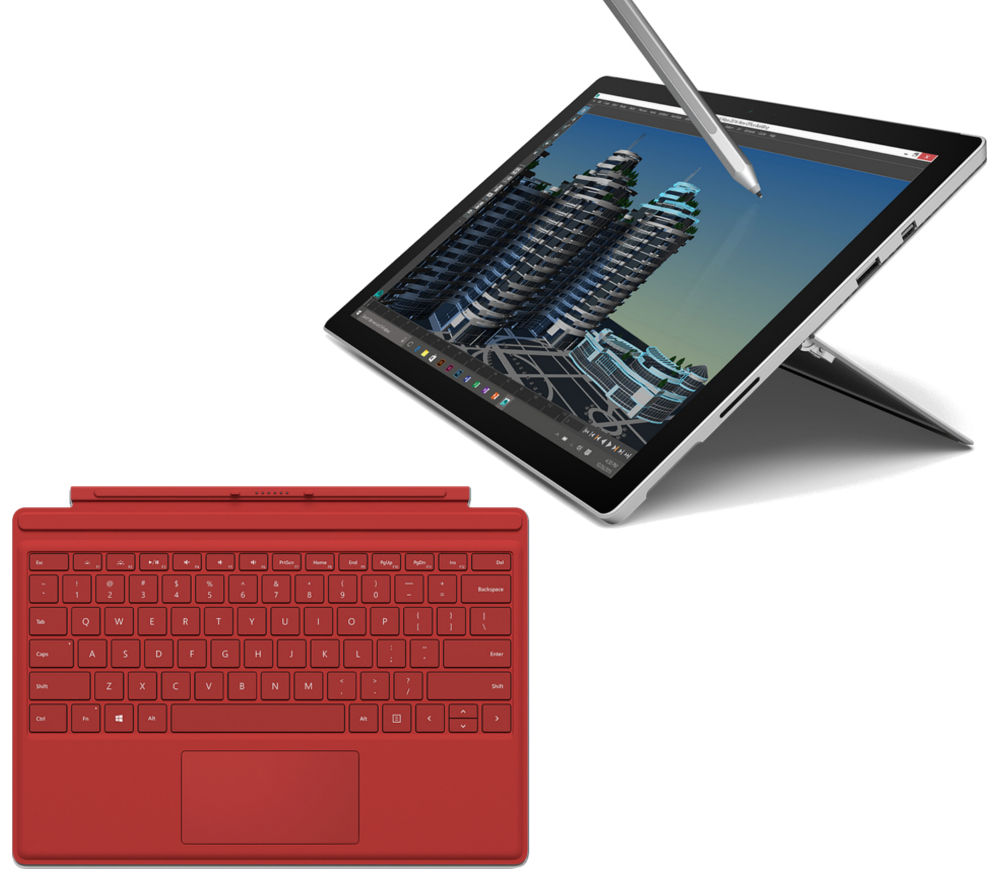 MICROSOFT Surface Pro 4 256 GB & Red Typecover Bundle
