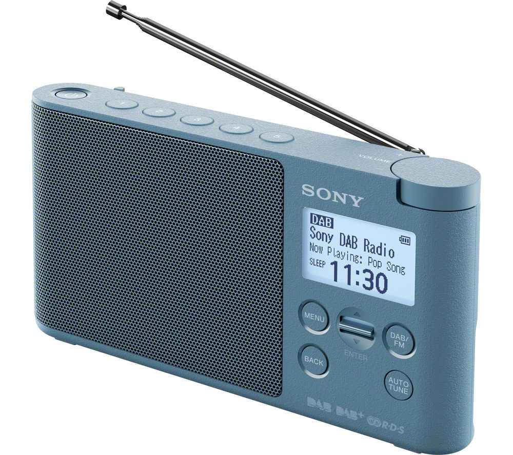 sony xdr s41d portable dab fm clock radio blue deals pc world. Black Bedroom Furniture Sets. Home Design Ideas