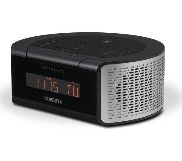 buy roberts dreamtime2 dab clock radio black silver. Black Bedroom Furniture Sets. Home Design Ideas