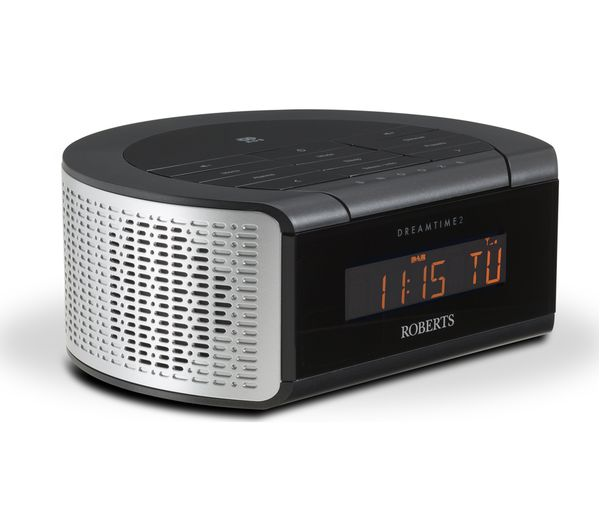 dreamtime2 roberts dreamtime2 dab clock radio black silver currys pc world business. Black Bedroom Furniture Sets. Home Design Ideas