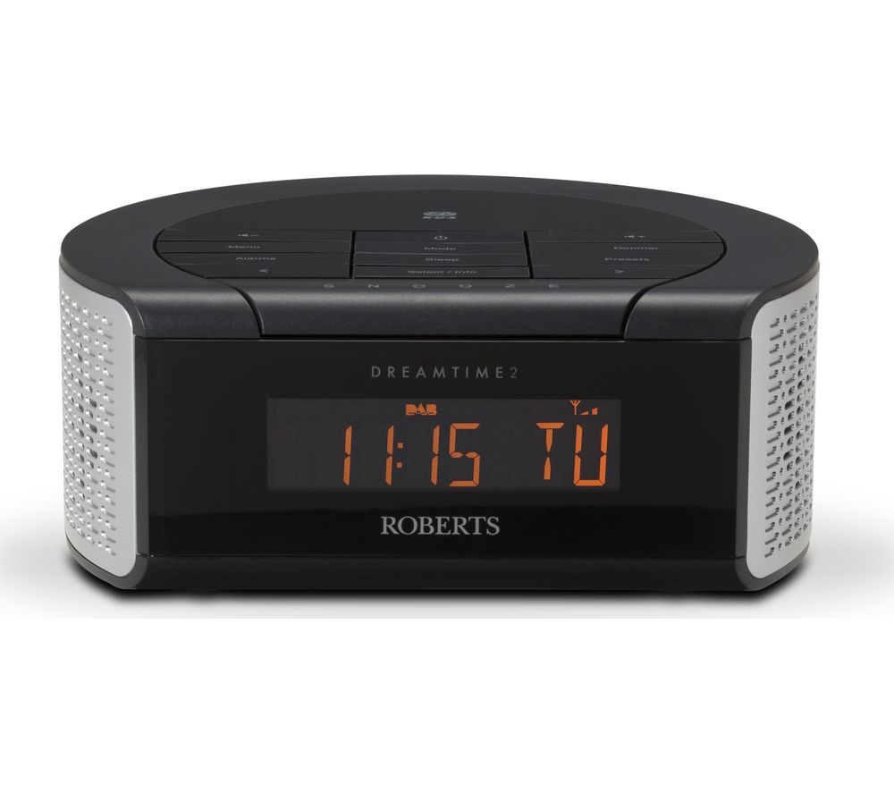 buy roberts dreamtime2 dab clock radio black silver free delivery currys. Black Bedroom Furniture Sets. Home Design Ideas