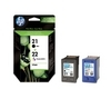 HP 21/22 Tri-colour & Black Ink Cartridges - Twin Pack