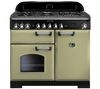RANGEMASTER Classic Deluxe 100 Dual Fuel Range Cooker -  Olive Green & Chrome