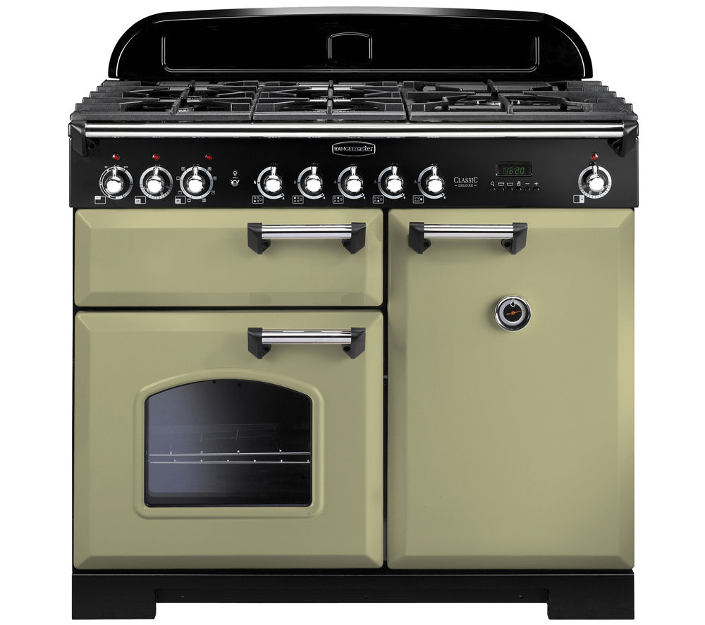 RANGEMASTER Classic Deluxe 100 Dual Fuel Range Cooker -  Olive Green & Chrome