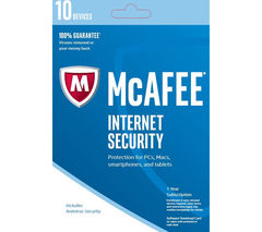 MCAFEE Internet Security 2017 - 10 users for 1 year