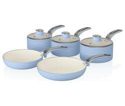 SWAN Retro 5-piece Non-stick Pan Set - Blue