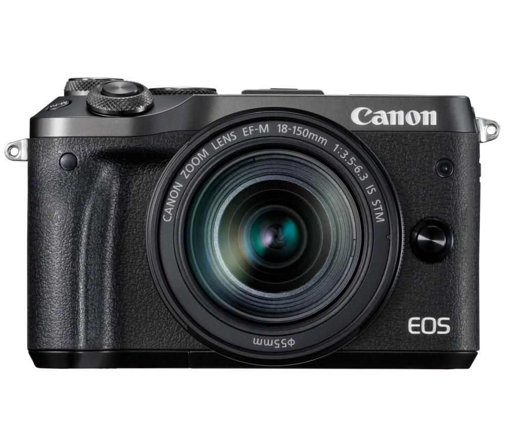 CANON EOS M6 Mirrorless Camera with 18-150 mm f/3.5-6.3 Lens - Black