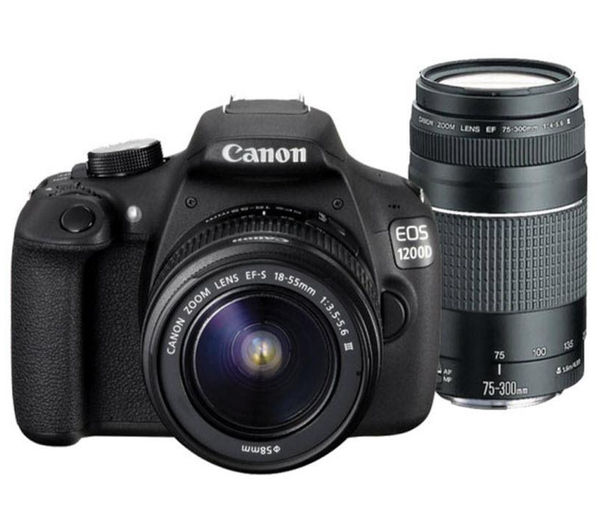 CANON EOS 1200D DSLR Camera with 18-55 mm f/3.5-5.6 Zoom Lens & 75-300 mm f/4-5.6 Telephoto Zoom Lens