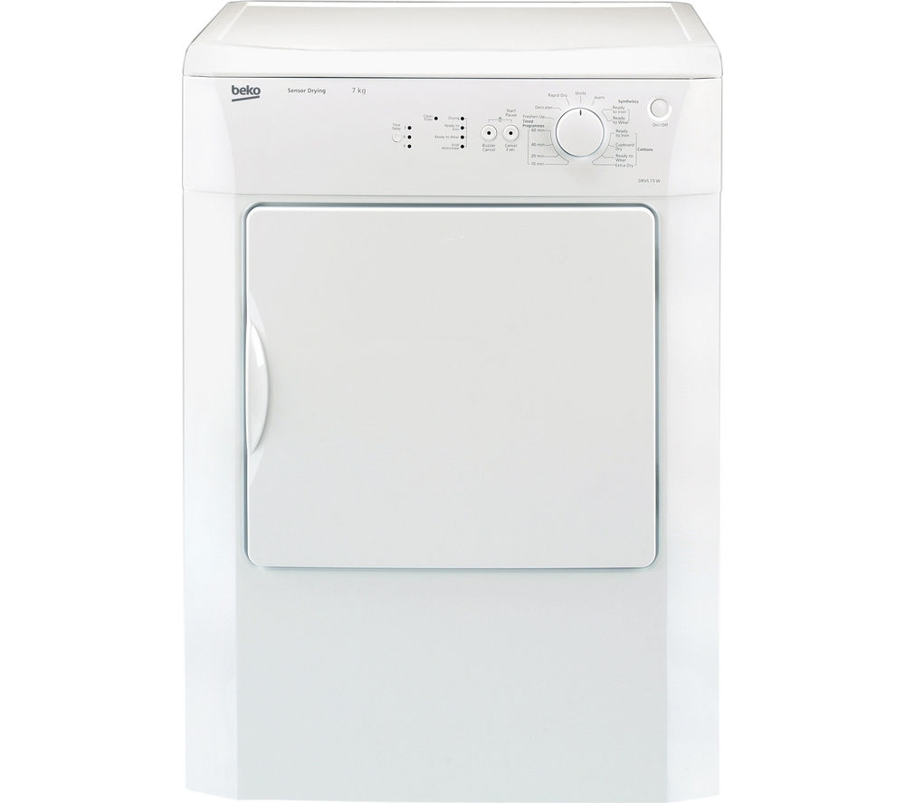 BEKO DRVS73W Vented Tumble Dryer - White + DFS05X10W Slimline Dishwasher - White