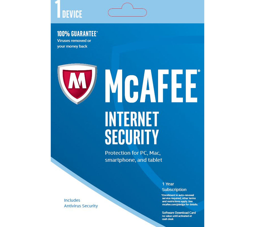 MCAFEE Internet Security 2016 - 1 user for 1 year