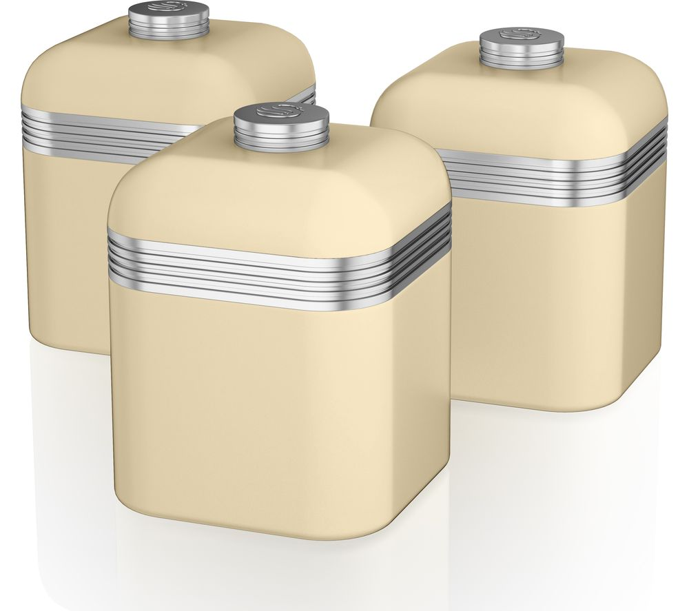 Swan  Retro Swka1020cn 1-litre Canisters - Cream, Pack Of 3, Cream.