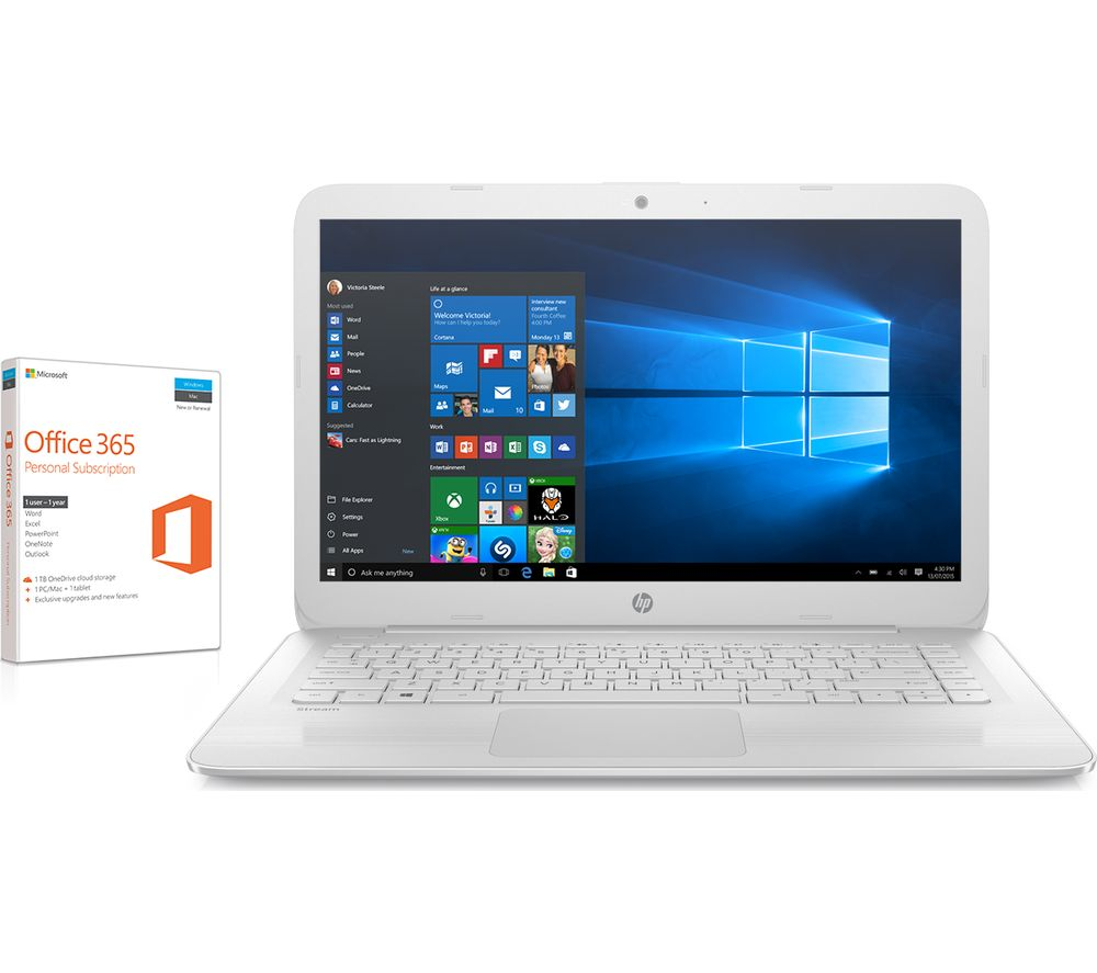 "HP Stream 14-ax054sa 14"" Laptop - White + Office 365 Personal"