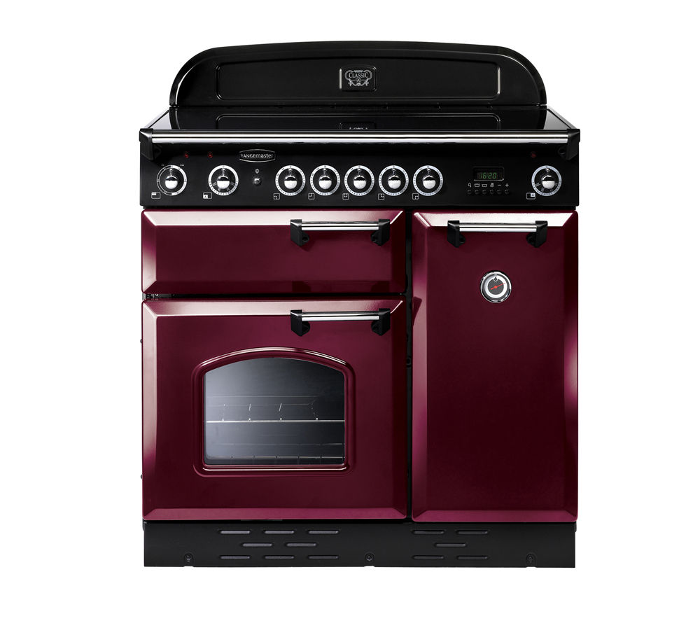 RANGEMASTER Classic 90 Electric Ceramic Range Cooker - Cranberry & Chrome