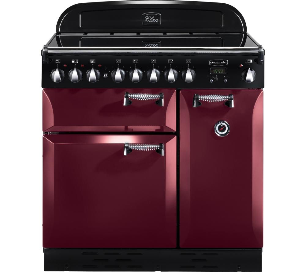 RANGEMASTER  Elan 90 Electric Induction Range Cooker  Cranberry & Chrome Cranberry