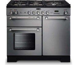 RANGEMASTER Kitchener 100 Dual Fuel Range Cooker - Stainless Steel & Chrome