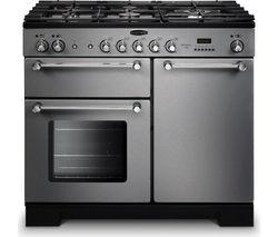 RANGEMASTER Kitchener 100 Dual Fuel Range Cooker - Stainless Steel & Chrome