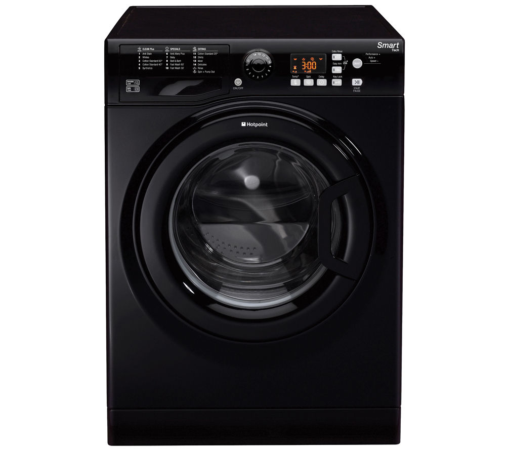 HOTPOINT  WMFUG842K SMART Washing Machine - Black +  Aquarius TCFS93BGP Condenser Tumble Dryer - White