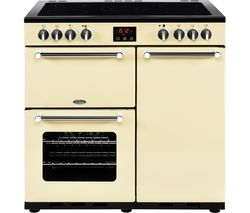 BELLING Kensington 90 cm Electric Ceramic Range Cooker - Cream & Chrome