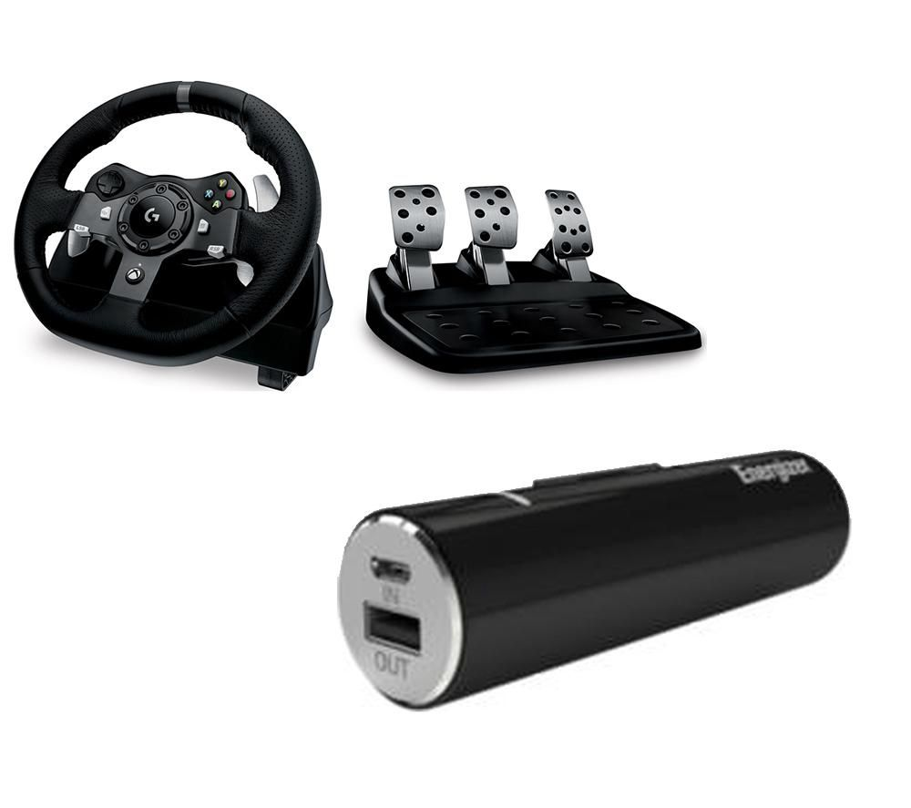 LOGITECH Driving Force Wheel, Pedals & Power Bank Bundle