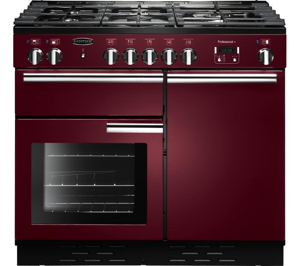 RANGEMASTER  Professional 100 Dual Fuel Range Cooker  Cranberry & Chrome Cranberry