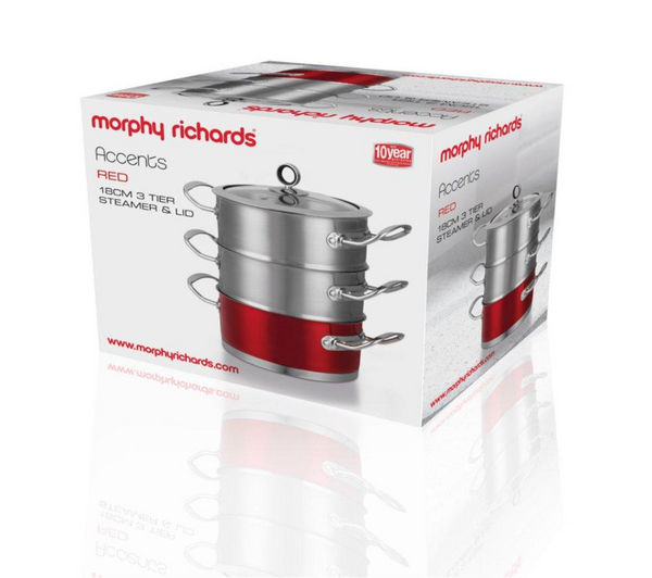 Morphy Richards Red Kitchen Accessories: Buy MORPHY RICHARDS 46381 18 Cm 3-Tier Steamer