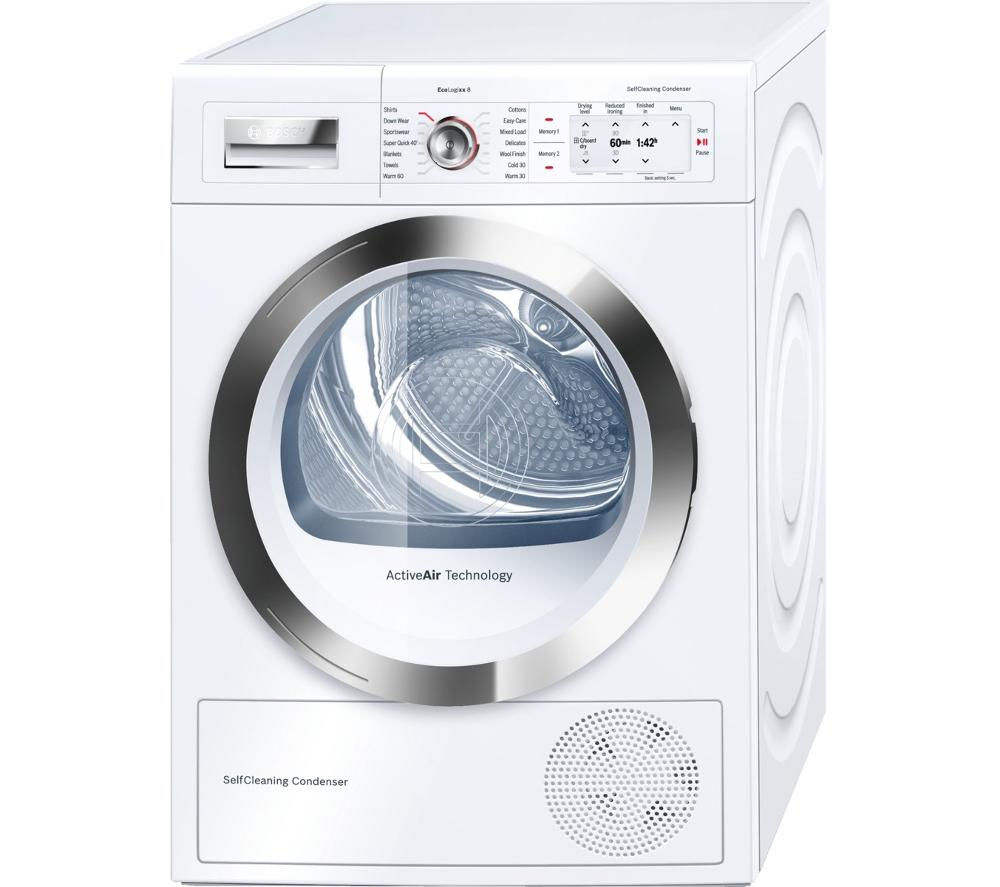 bosch wty86790gb heat pump condenser tumble dryer white chrome. Black Bedroom Furniture Sets. Home Design Ideas