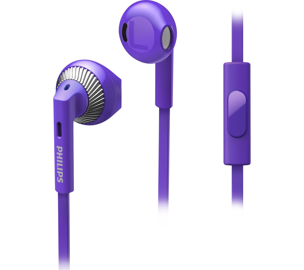 PHILIPS SHE3205PP/00 Headphones - Purple + iPhone 7 Lightning to 3.5 mm Headphone Jack Adapter