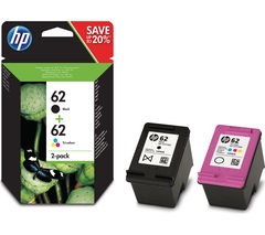 HP 62 Black & Tri-colour Ink Cartridges - Twin Pack