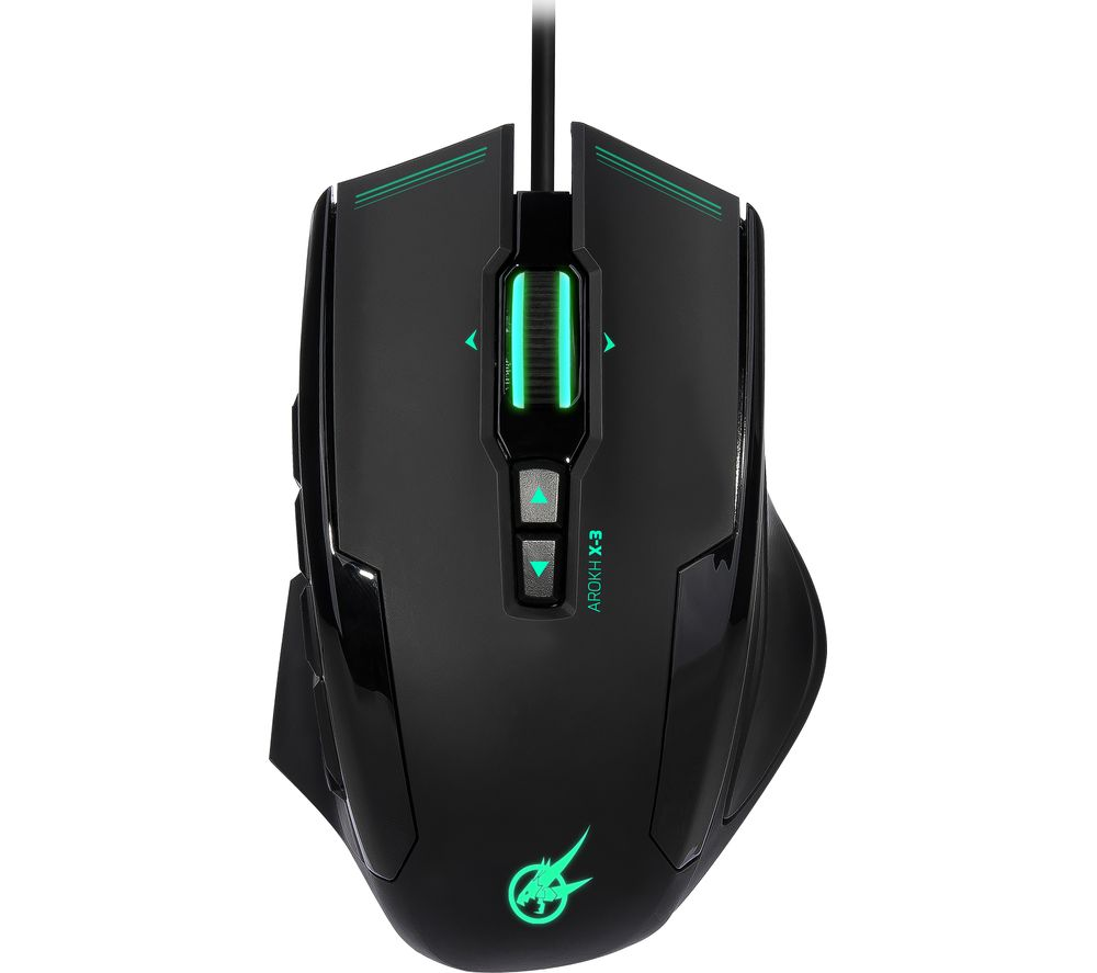 PORT DESIGNS Arokh X-3 Optical Gaming Mouse - Black & Green