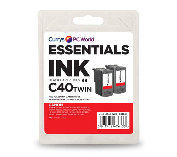 ESSENTIALS C40 Black Canon Ink Cartridges - Twin Pack