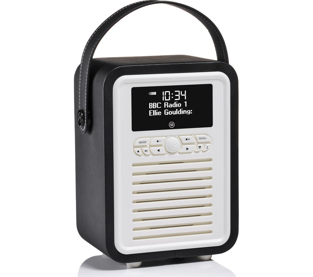 vq retro mini portable dab fm bluetooth clock radio black deals pc world. Black Bedroom Furniture Sets. Home Design Ideas