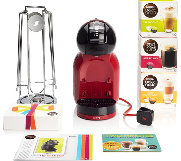 DOLCE GUSTO by Krups Mini Me KP120BUN Hot Drinks Machine Starter Pack - Red