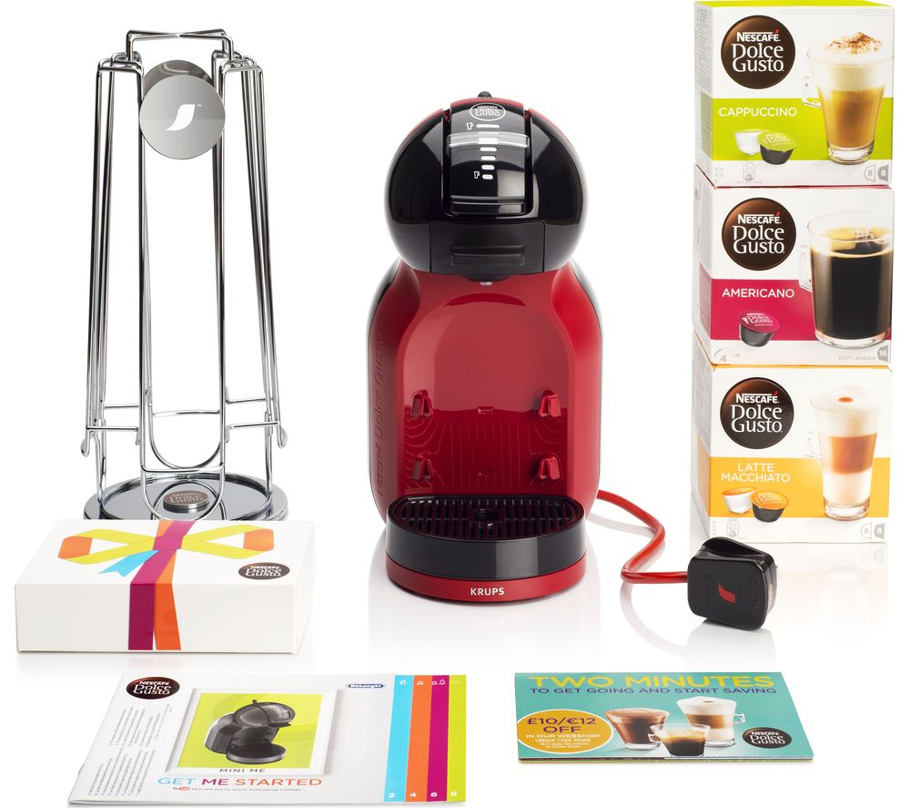 DOLCE GUSTO by Krups Mini Me KP120BUN Hot Drinks Machine Starter Pack  Red Red