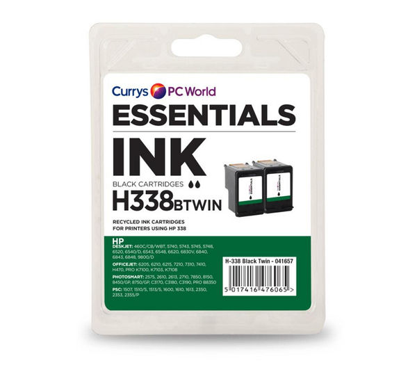 ESSENTIALS H338 Black HP Ink Cartridges - Twin Pack