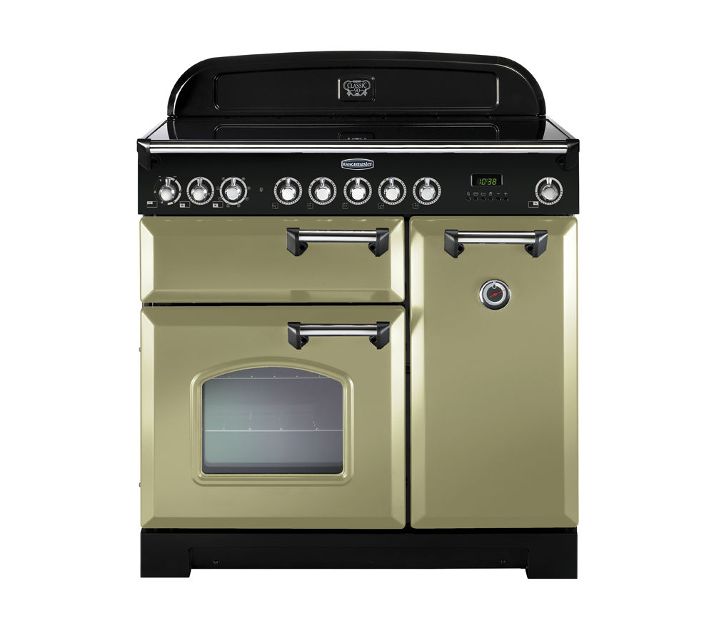 RANGEMASTER  Classic Deluxe 90 Electric Ceramic Range Cooker  Olive Green & Chrome Olive