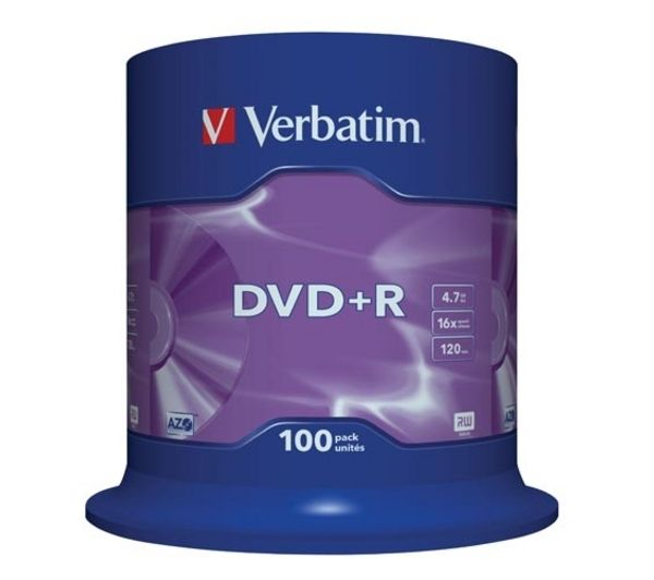 VERBATIM 16x Speed DVD+R Blank DVDs - Pack of 100