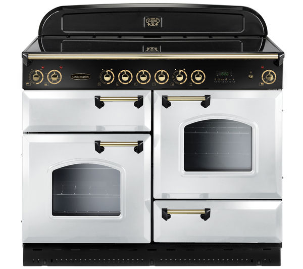 Rangemaster Classic 110 Electric Ceramic Range Cooker  White & Brass White
