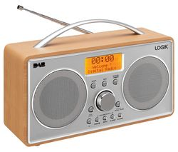 LOGIK L55DAB15 Portable DAB+/FM Clock Radio - Silver & Wood