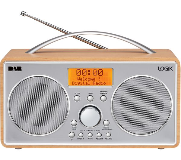 logik l55dab15 portable dab fm clock radio silver wood currys pc world business. Black Bedroom Furniture Sets. Home Design Ideas