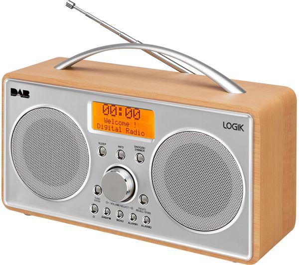 buy logik l55dab15 portable dab fm clock radio silver wood free de. Black Bedroom Furniture Sets. Home Design Ideas