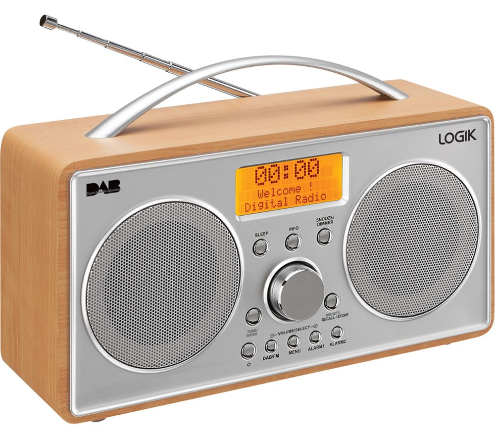 logik l55dab15 portable dab fm clock radio silver wood deals pc world. Black Bedroom Furniture Sets. Home Design Ideas