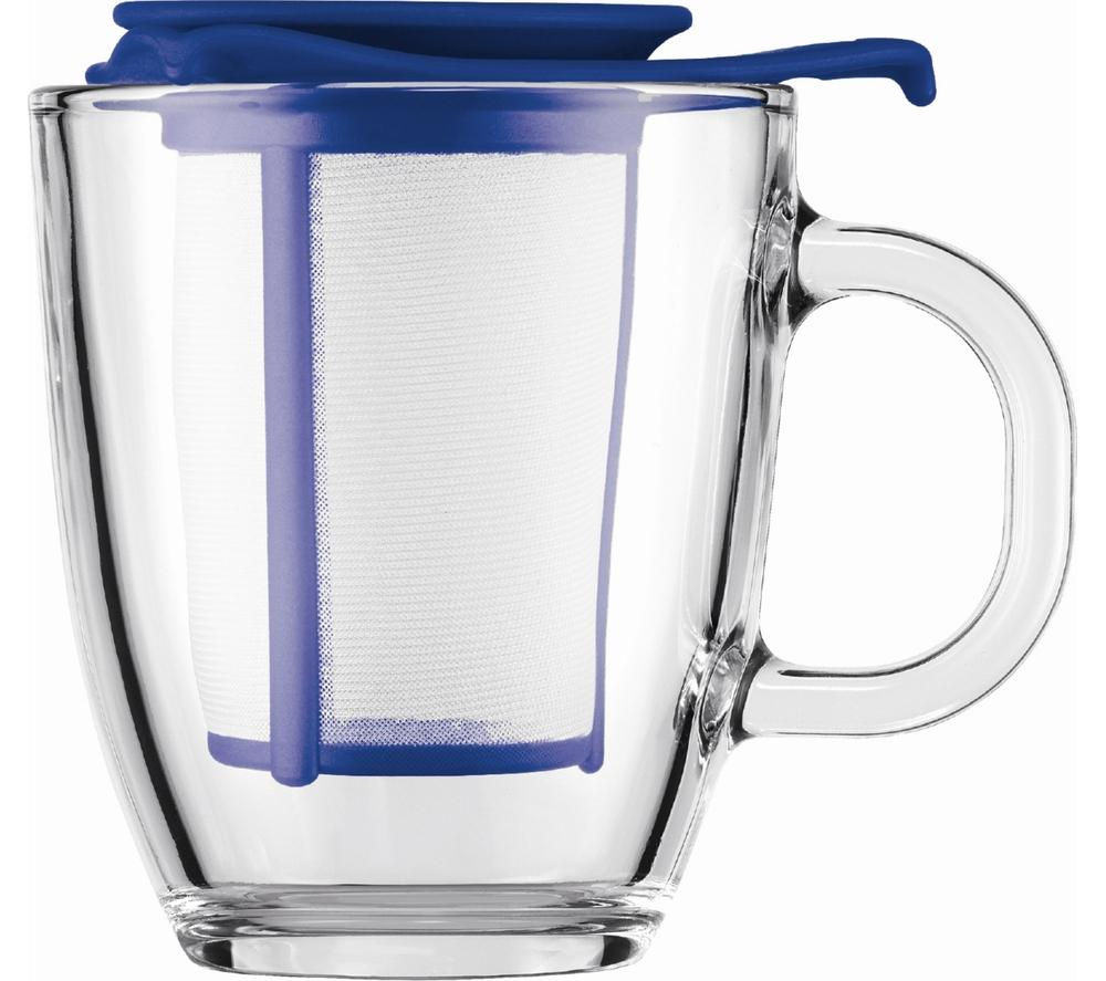 BODUM  Yo Yo Mug & Tea Strainer Set  Blue Blue