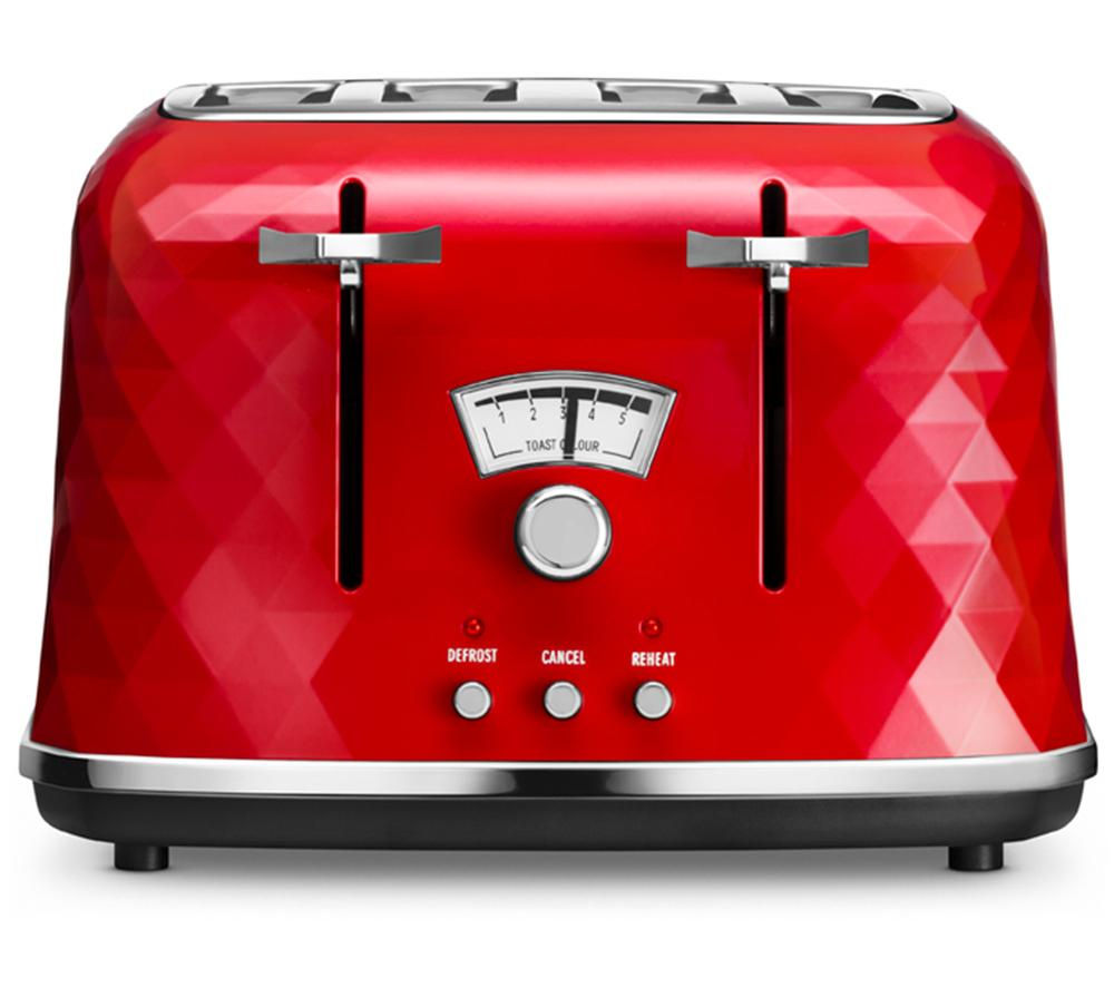 buy delonghi brillante ctj4003 4 slice toaster red free delivery currys. Black Bedroom Furniture Sets. Home Design Ideas
