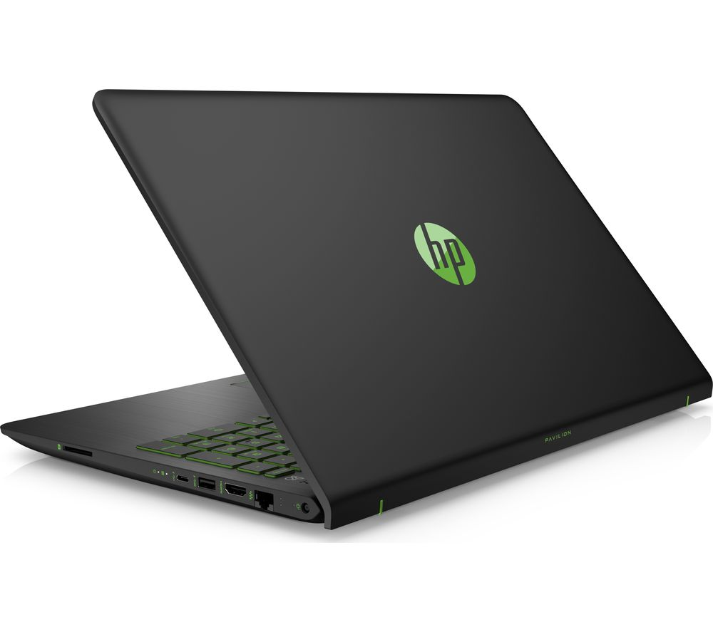 """HP Pavilion Power 15-cb059na 15.6"""" Laptop - Black and Green + L15BUN16 15.6"""" Laptop Case with Wireless Mouse & Screen Wipes - Black"""