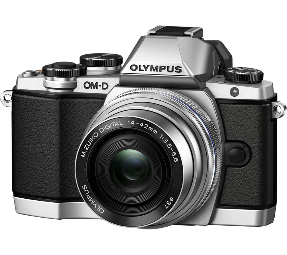 OLYMPUS OM-D E-M10 Compact System Camera with M.ZUIKO 14-42 mm f/3.5-5.6 EZ Lens - Silver