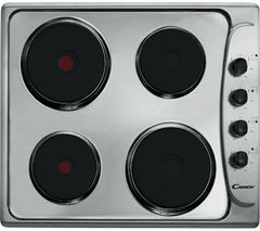 CANDY PLE64X Electric Solid Plate Hob - Stainless Steel