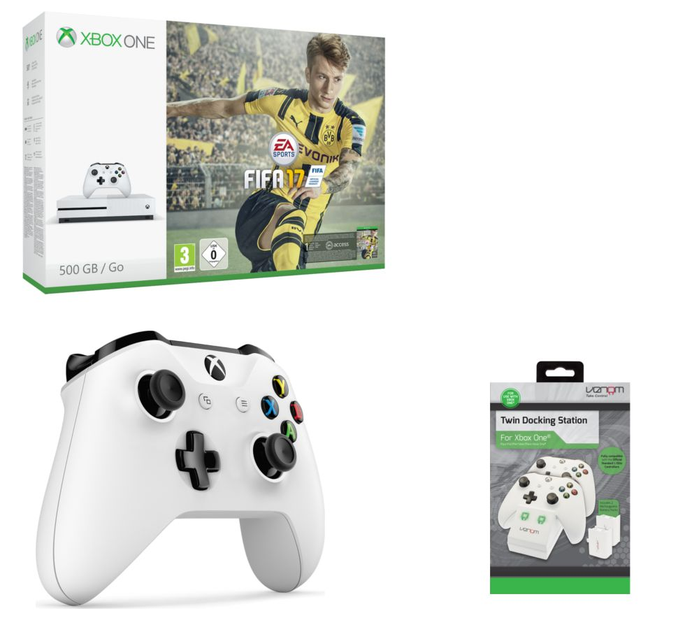 microsoft xbox one s with fifa 17 twin docking station. Black Bedroom Furniture Sets. Home Design Ideas