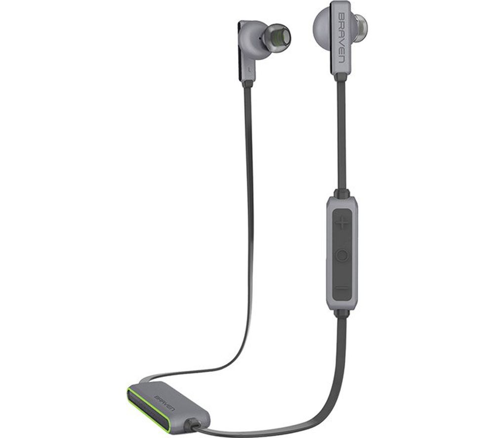 Image of BRAVEN Flye Sport Wireless Bluetooth Headphones - Silver & Green, Silver