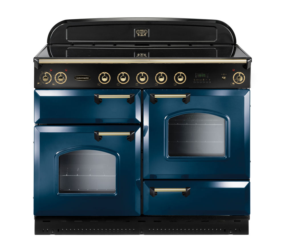 Image of Rangemaster Classic 110 Electric Induction Range Cooker - Blue & Brass, Blue