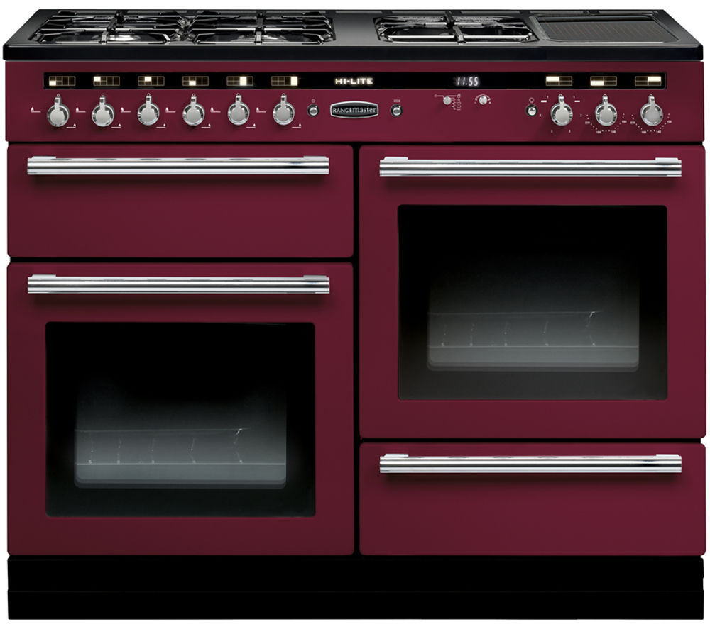 RANGEMASTER  HiLite 110 Dual Fuel Range Cooker  Cranberry & Chrome Cranberry